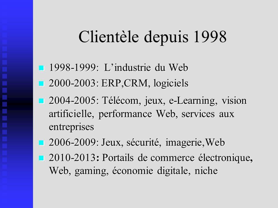 Clientèle depuis 1998 1998-1999: Lindustrie du Web 1998-1999: Lindustrie du Web 2000-2003: ERP,CRM, logiciels 2000-2003: ERP,CRM, logiciels 2004-2005: Télécom, jeux, e-Learning, vision artificielle, performance Web, services aux entreprises 2004-2005: Télécom, jeux, e-Learning, vision artificielle, performance Web, services aux entreprises 2006-2009: Jeux, sécurité, imagerie,Web 2006-2009: Jeux, sécurité, imagerie,Web 2010-2013: Portails de commerce électronique, Web, gaming, économie digitale, niche 2010-2013: Portails de commerce électronique, Web, gaming, économie digitale, niche