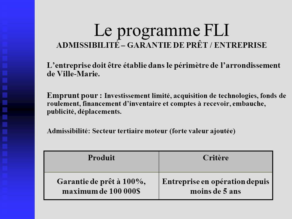 Le programme FLI ADMISSIBILITÉ – GARANTIE DE PRÊT / ENTREPRISE Lentreprise doit être établie dans le périmètre de larrondissement de Ville-Marie.