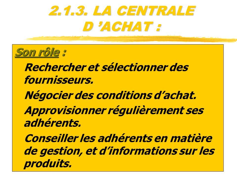 2.1.3. LA CENTRALE D ACHAT : Son rôle : zRechercher et sélectionner des fournisseurs. zNégocier des conditions dachat. zApprovisionner régulièrement s
