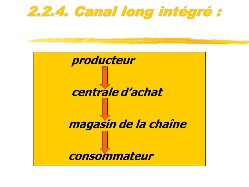 2.2.4. Canal long intégré : producteur centrale dachat magasin de la chaîne consommateur