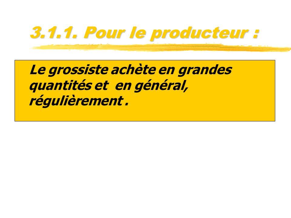 3.1.1. Pour le producteur : zLe grossiste achète en grandes quantités et en général, régulièrement.