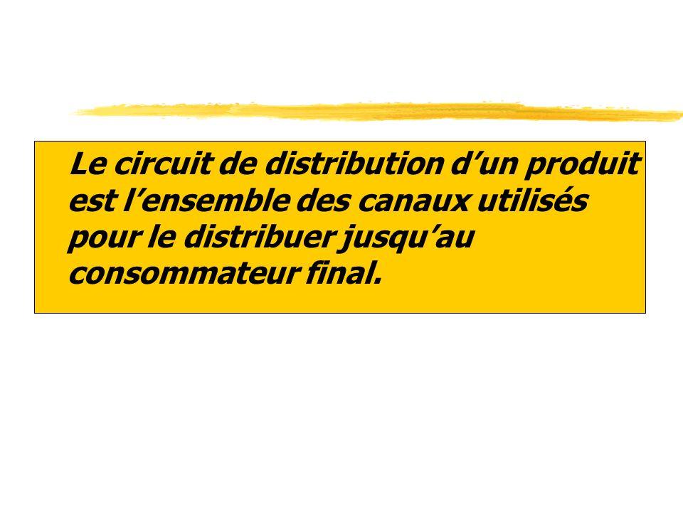 zLe circuit de distribution dun produit est lensemble des canaux utilisés pour le distribuer jusquau consommateur final.