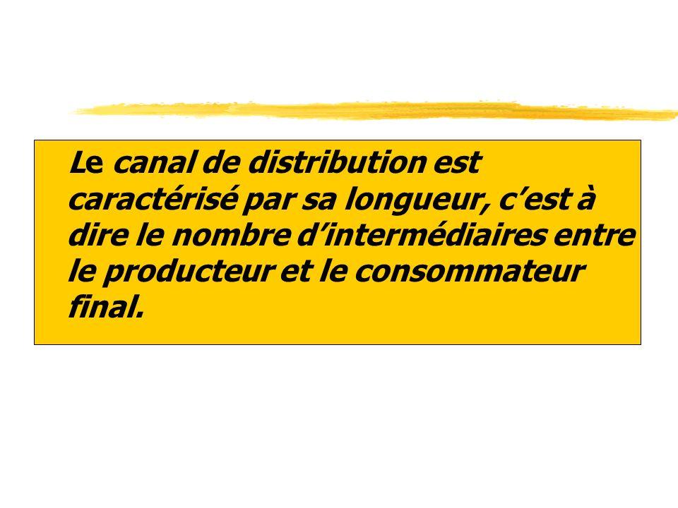 zLe canal de distribution est caractérisé par sa longueur, cest à dire le nombre dintermédiaires entre le producteur et le consommateur final.