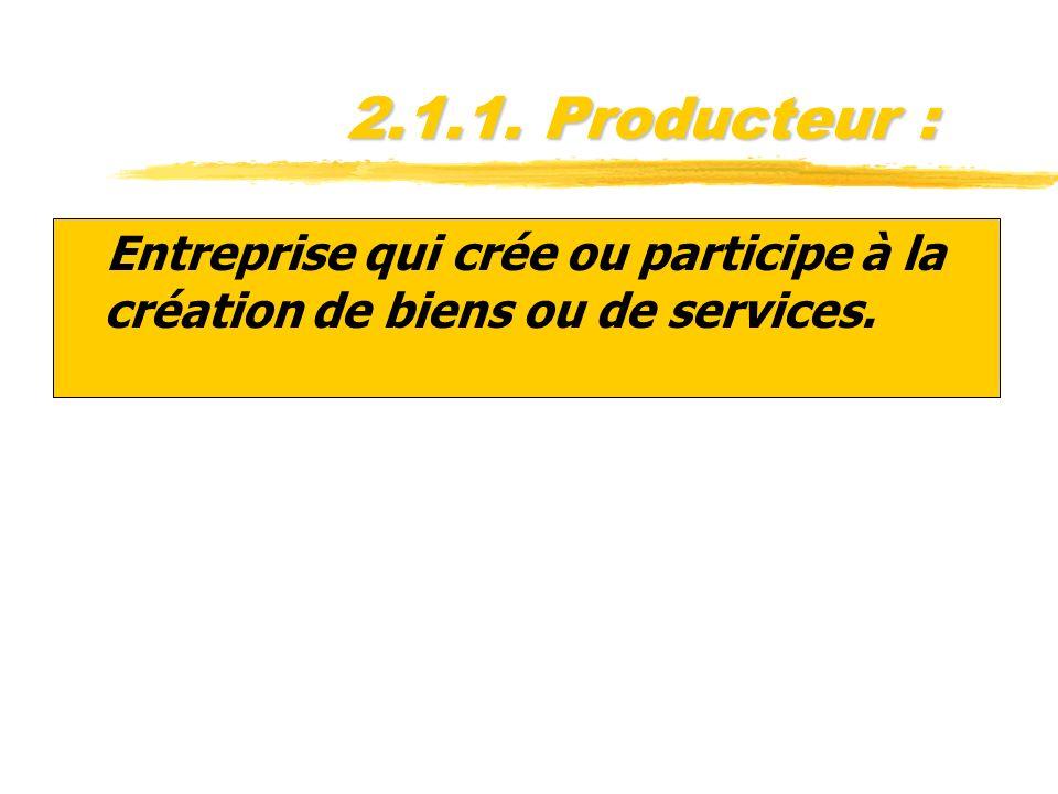 2.1.1. Producteur : zEntreprise qui crée ou participe à la création de biens ou de services.