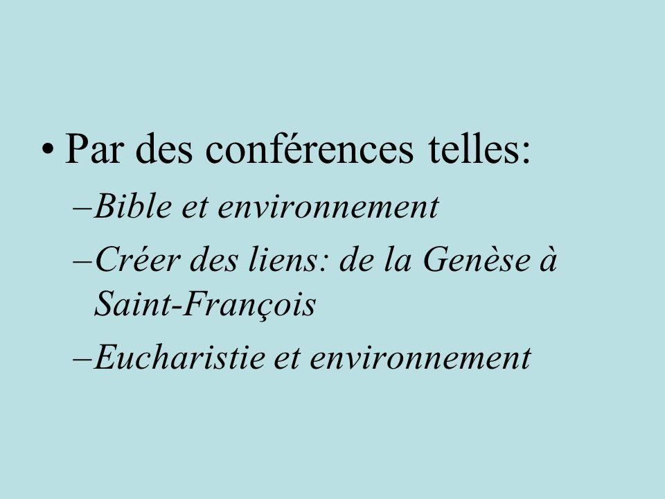 Par des conférences telles: –Bible et environnement –Créer des liens: de la Genèse à Saint-François –Eucharistie et environnement