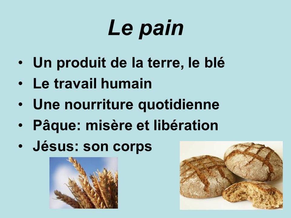 Le pain Un produit de la terre, le blé Le travail humain Une nourriture quotidienne Pâque: misère et libération Jésus: son corps