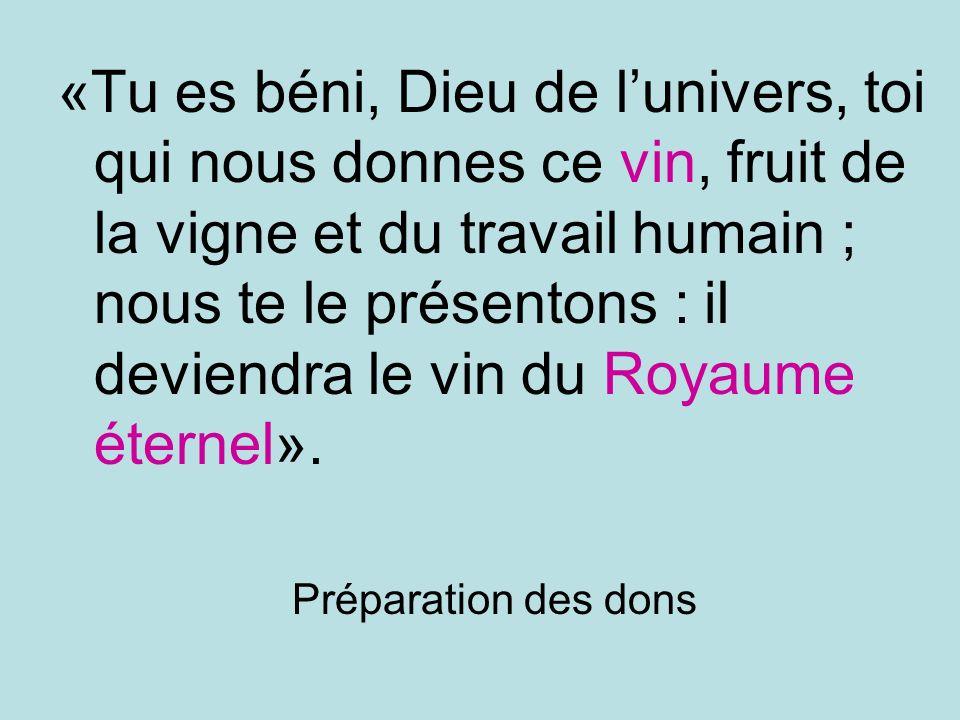 «Tu es béni, Dieu de lunivers, toi qui nous donnes ce vin, fruit de la vigne et du travail humain ; nous te le présentons : il deviendra le vin du Royaume éternel».