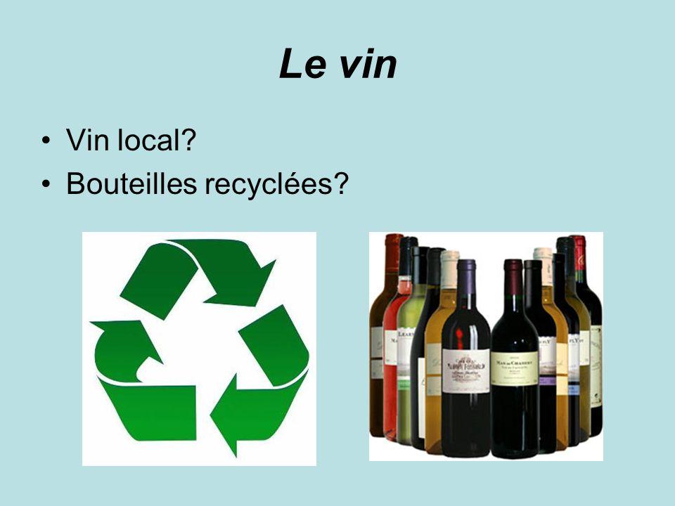 Le vin Vin local? Bouteilles recyclées?