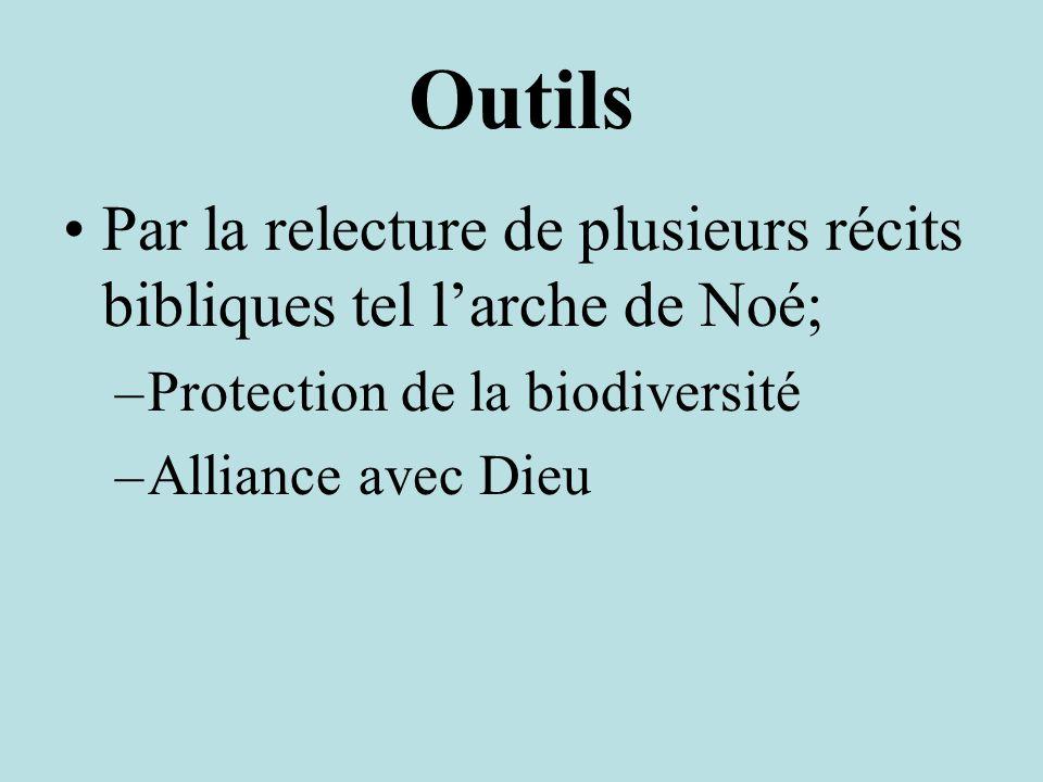 Outils Par la relecture de plusieurs récits bibliques tel larche de Noé; –Protection de la biodiversité –Alliance avec Dieu