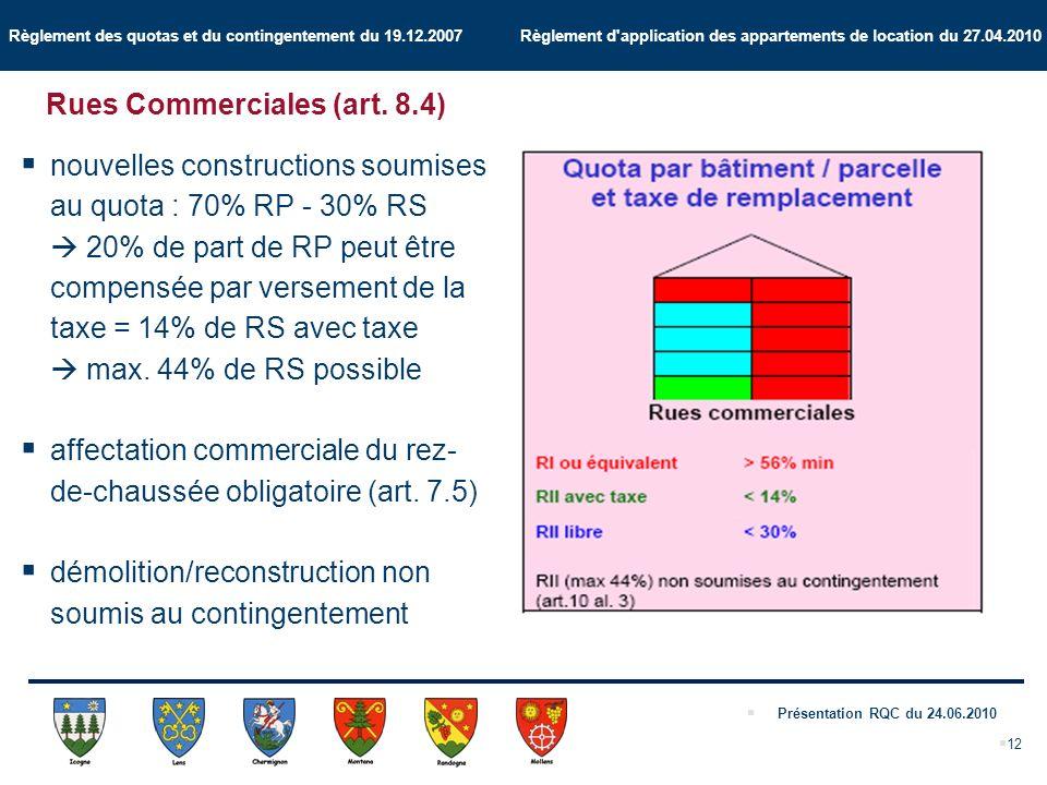Règlement des quotas et du contingentement du 19.12.2007 Règlement d application des appartements de location du 27.04.2010 Présentation RQC du 24.06.2010 12 Rues Commerciales (art.