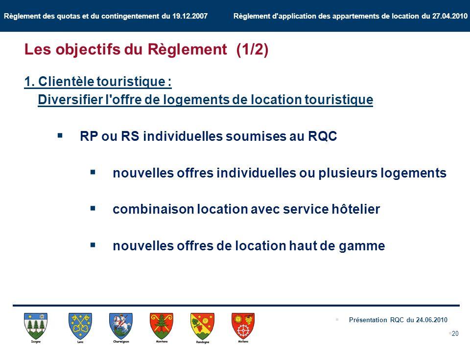 Règlement des quotas et du contingentement du 19.12.2007 Règlement d application des appartements de location du 27.04.2010 Présentation RQC du 24.06.2010 20 1.