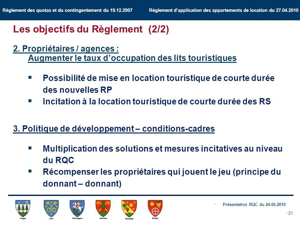 Règlement des quotas et du contingentement du 19.12.2007 Règlement d application des appartements de location du 27.04.2010 Présentation RQC du 24.06.2010 21 2.