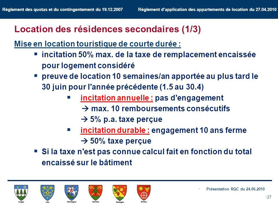 Règlement des quotas et du contingentement du 19.12.2007 Règlement d application des appartements de location du 27.04.2010 Présentation RQC du 24.06.2010 27 Mise en location touristique de courte durée : incitation 50% max.