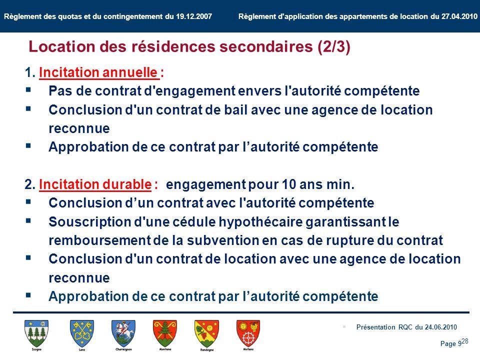 Règlement des quotas et du contingentement du 19.12.2007 Règlement d application des appartements de location du 27.04.2010 Présentation RQC du 24.06.2010 28 1.