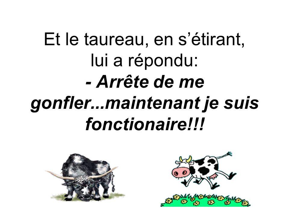 Et le taureau, en sétirant, lui a répondu: - Arrête de me gonfler...maintenant je suis fonctionaire!!!