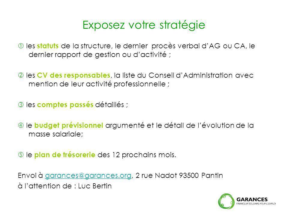 Exposez votre stratégie les statuts de la structure, le dernier procès verbal dAG ou CA, le dernier rapport de gestion ou dactivité ; les CV des respo