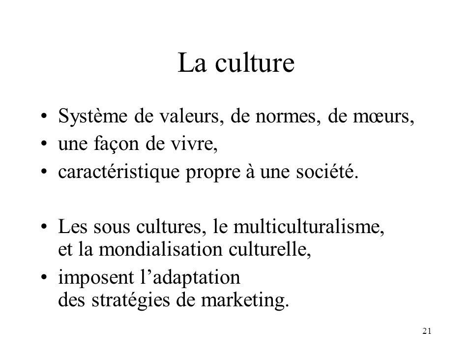 21 La culture Système de valeurs, de normes, de mœurs, une façon de vivre, caractéristique propre à une société. Les sous cultures, le multiculturalis
