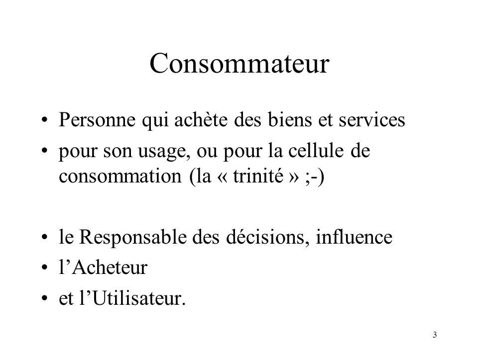 3 Consommateur Personne qui achète des biens et services pour son usage, ou pour la cellule de consommation (la « trinité » ;-) le Responsable des déc