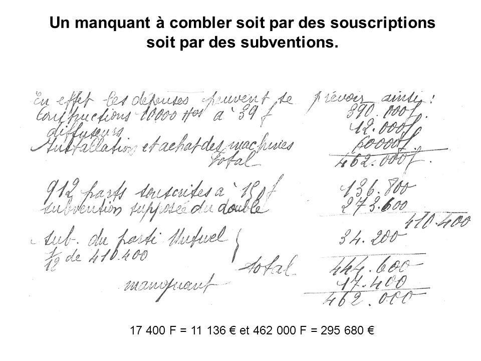Un manquant à combler soit par des souscriptions soit par des subventions. 17 400 F = 11 136 et 462 000 F = 295 680