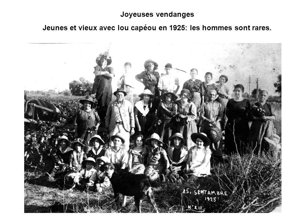 Joyeuses vendanges Jeunes et vieux avec lou capéou en 1925: les hommes sont rares.