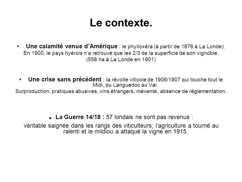 Le contexte. Une calamité venue dAmérique : le phylloxéra (à partir de 1876 à La Londe). En 1900, le pays hyérois na retrouvé que les 2/3 de la superf