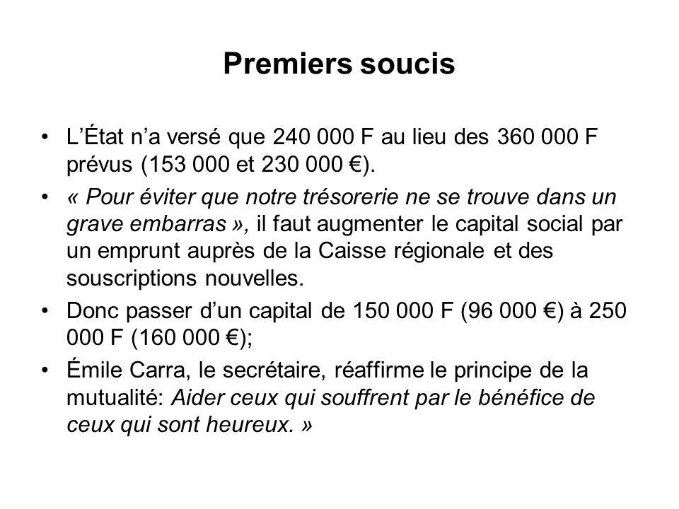 Premiers soucis LÉtat na versé que 240 000 F au lieu des 360 000 F prévus (153 000 et 230 000 ). « Pour éviter que notre trésorerie ne se trouve dans