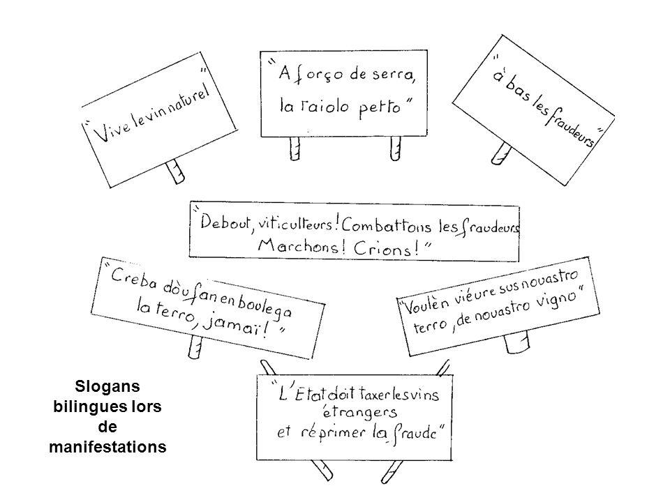 Slogans bilingues lors de manifestations