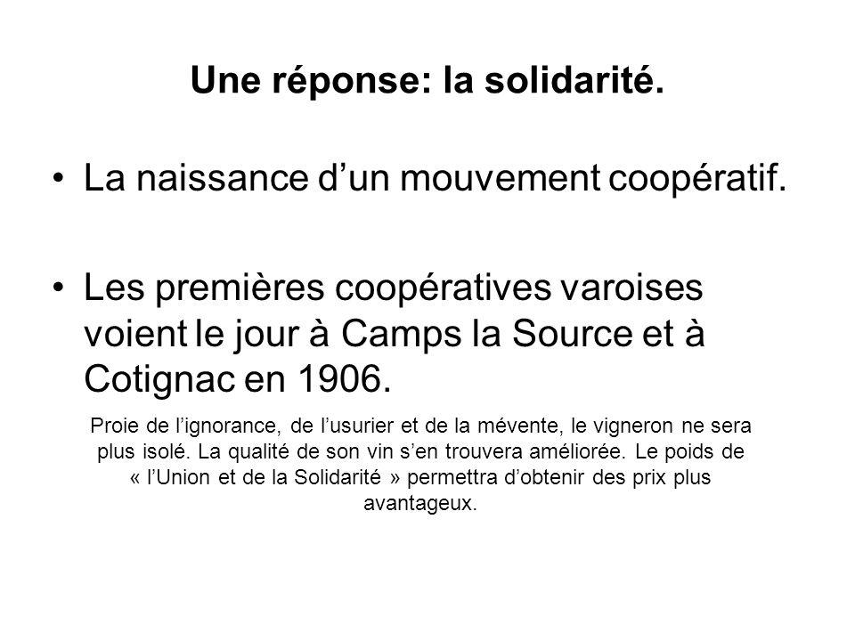 Une réponse: la solidarité. La naissance dun mouvement coopératif. Les premières coopératives varoises voient le jour à Camps la Source et à Cotignac