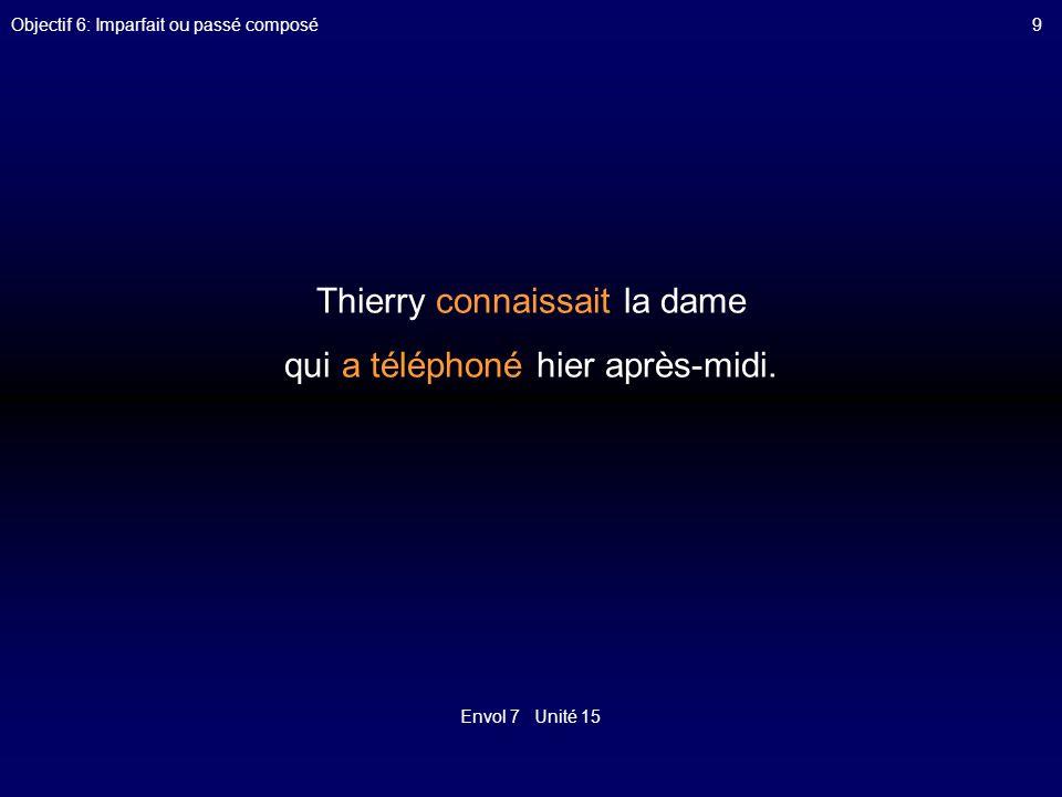 Envol 7 Unité 15 Objectif 6: Imparfait ou passé composé9 Thierry connaissait la dame qui a téléphoné hier après-midi.