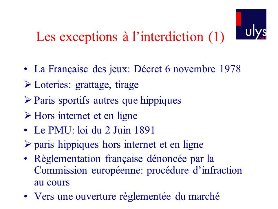 Les exceptions à linterdiction (1) La Française des jeux: Décret 6 novembre 1978 Loteries: grattage, tirage Paris sportifs autres que hippiques Hors i