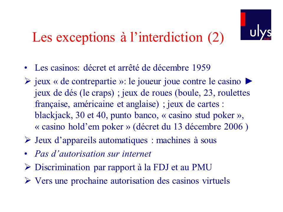Les exceptions à linterdiction (2) Les casinos: décret et arrêté de décembre 1959 jeux « de contrepartie »: le joueur joue contre le casino jeux de dé