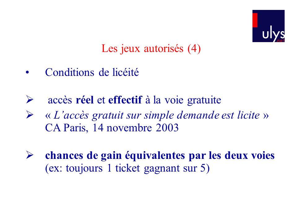 Conditions de licéité accès réel et effectif à la voie gratuite « Laccès gratuit sur simple demande est licite » CA Paris, 14 novembre 2003 chances de