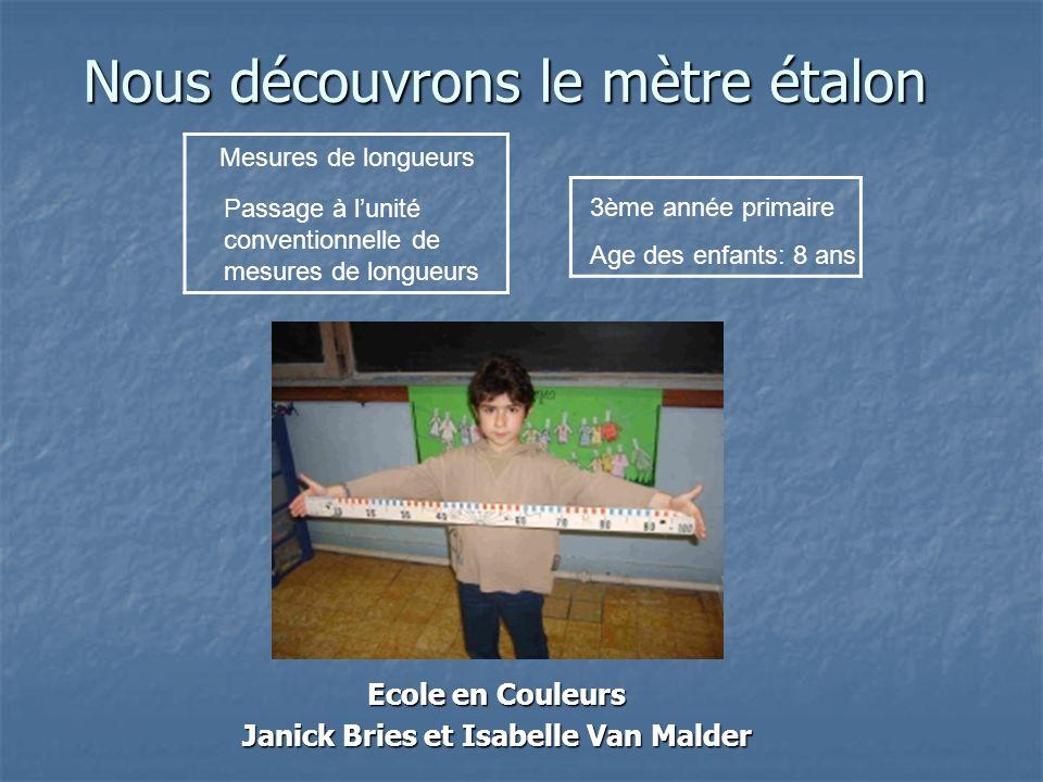 Nous découvrons le mètre étalon Ecole en Couleurs Janick Bries et Isabelle Van Malder Mesures de longueurs Passage à lunité conventionnelle de mesures