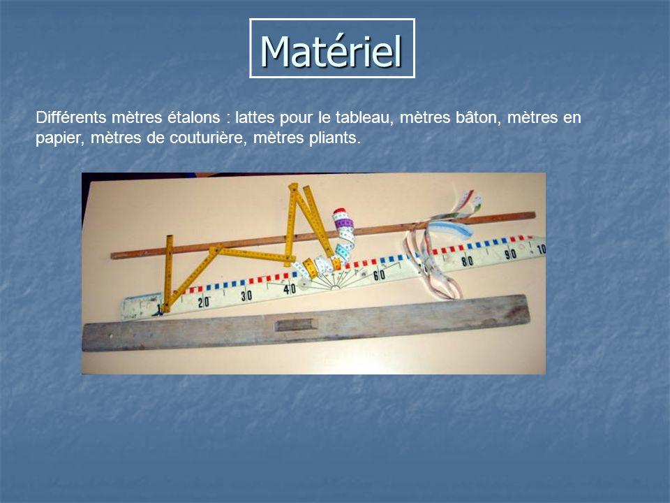 Matériel Différents mètres étalons : lattes pour le tableau, mètres bâton, mètres en papier, mètres de couturière, mètres pliants.