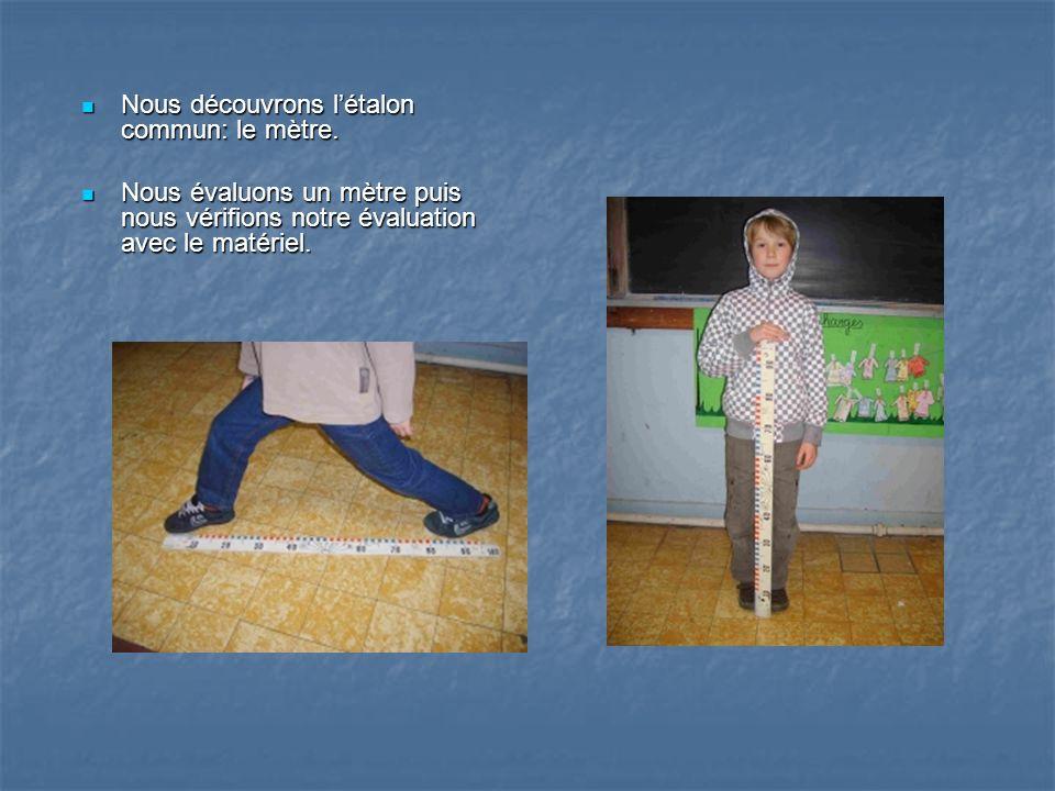 Nous découvrons létalon commun: le mètre. Nous découvrons létalon commun: le mètre. Nous évaluons un mètre puis nous vérifions notre évaluation avec l