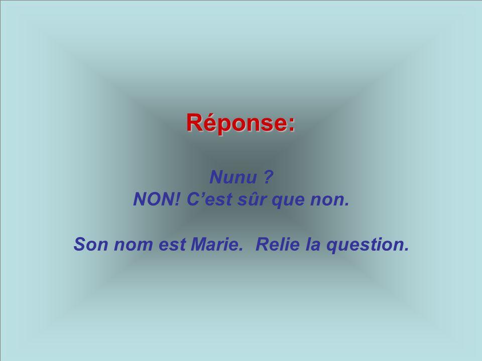 Réponse: Réponse: Nunu ? NON! Cest sûr que non. Son nom est Marie. Relie la question.