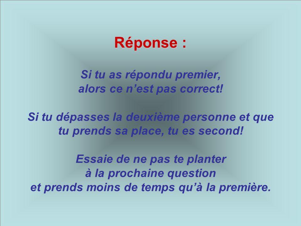Deuxième question : Deuxième question : Si tu dépasses la dernière personne, alors tu es…?