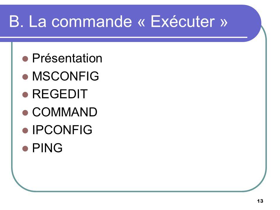 13 B. La commande « Exécuter » Présentation MSCONFIG REGEDIT COMMAND IPCONFIG PING
