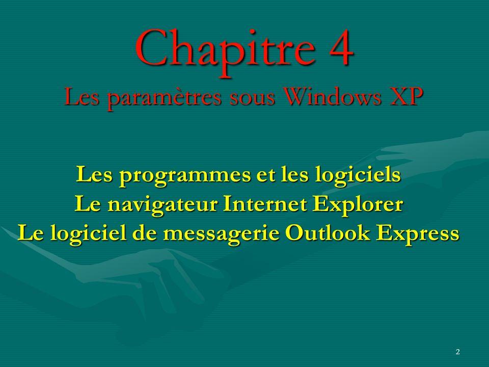 2 Chapitre 4 Les paramètres sous Windows XP Les programmes et les logiciels Le navigateur Internet Explorer Le logiciel de messagerie Outlook Express