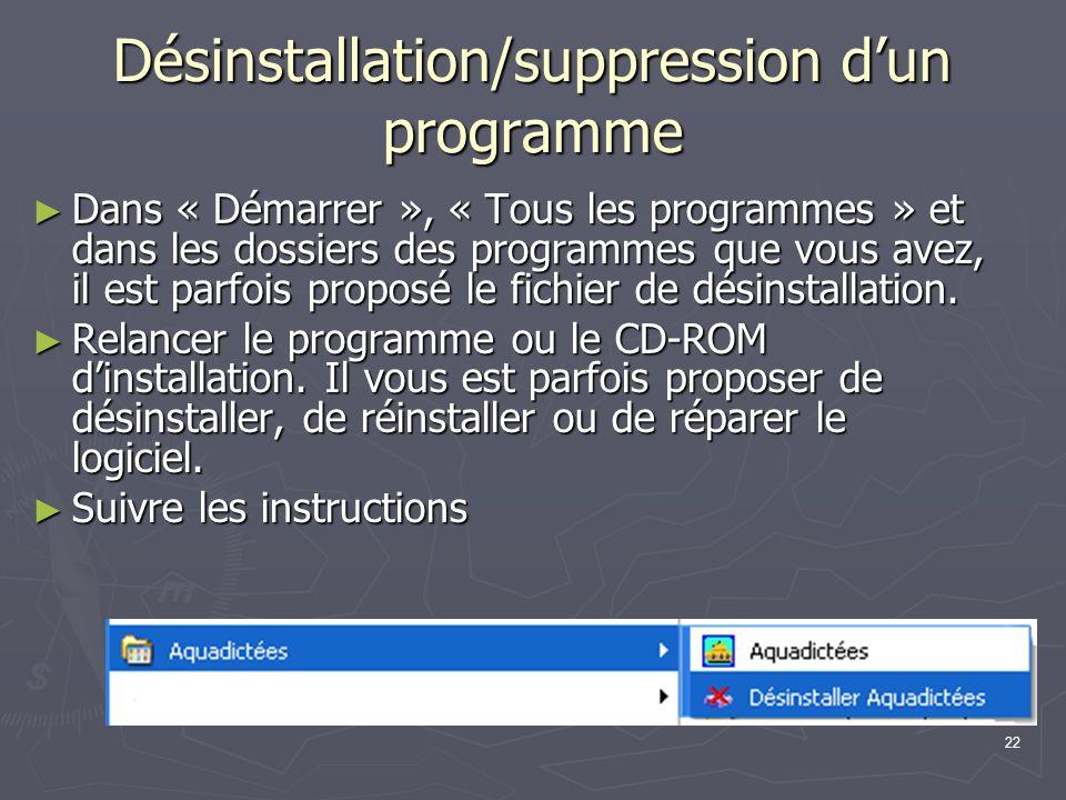 22 Désinstallation/suppression dun programme Dans Dans « Démarrer », « Tous les programmes » et dans les dossiers des programmes que vous avez, il est parfois proposé le fichier de désinstallation.