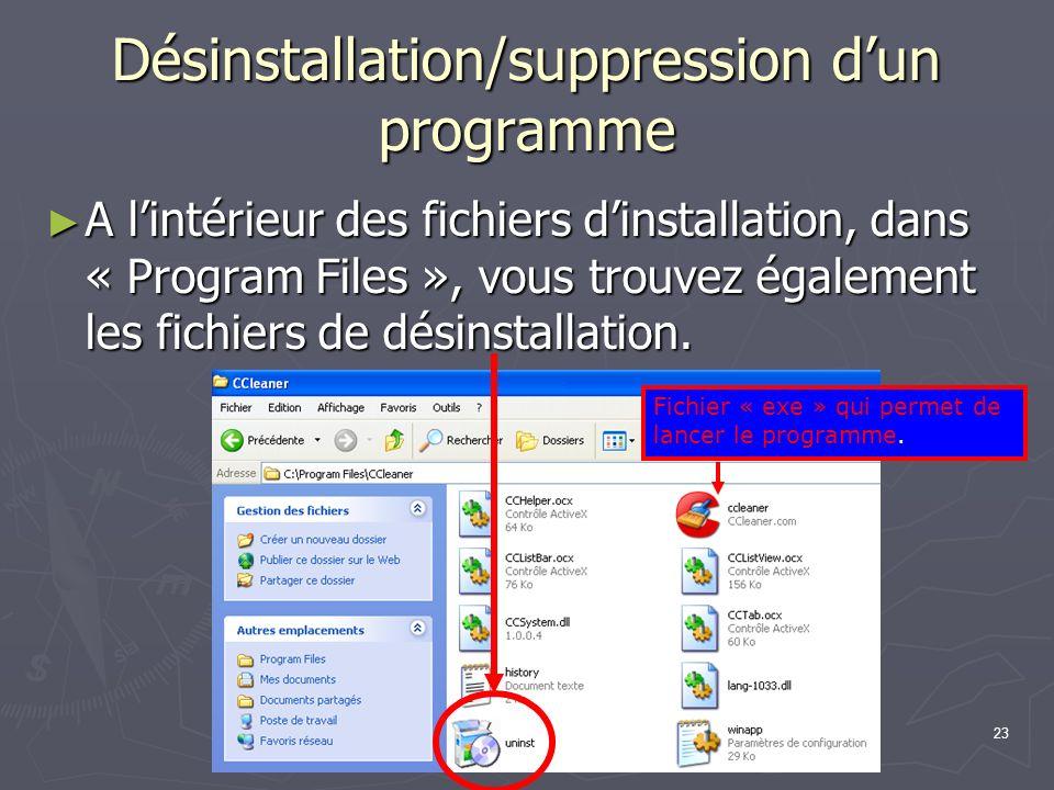 23 Désinstallation/suppression dun programme A lintérieur des fichiers dinstallation, dans « Program Files », vous trouvez également les fichiers de désinstallation.