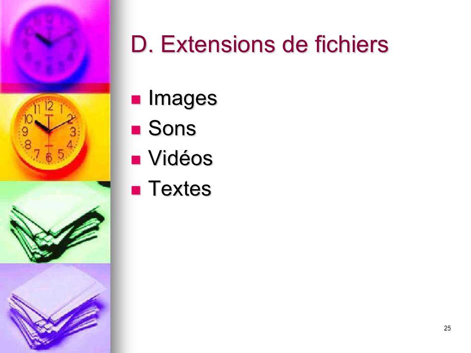 25 D. Extensions de fichiers Images Images Sons Sons Vidéos Vidéos Textes Textes