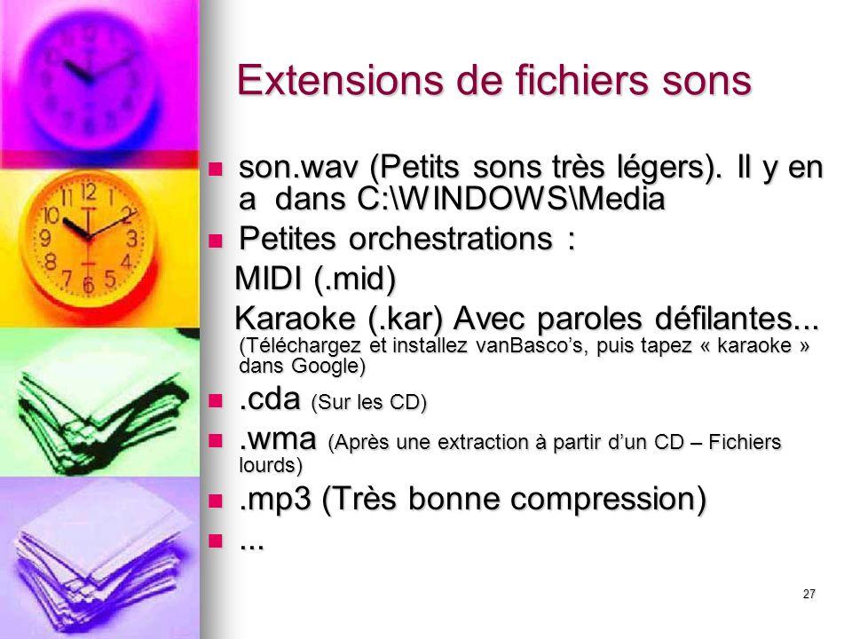27 Extensions de fichiers sons son.wav (Petits sons très légers).