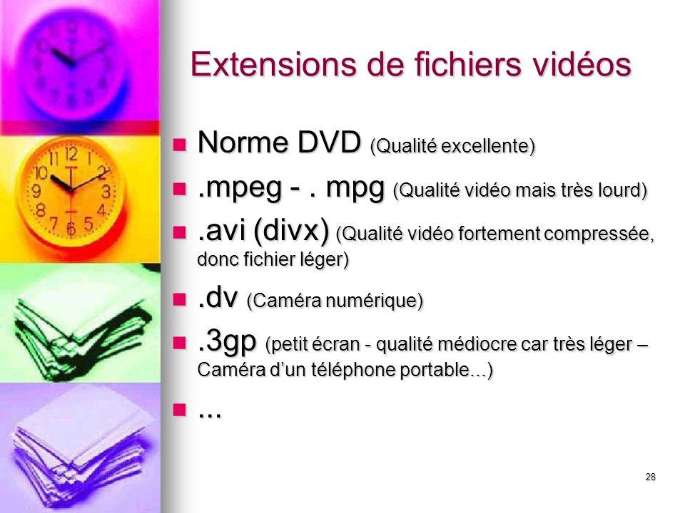 28 Extensions de fichiers vidéos Norme DVD (Qualité excellente).mpeg -.
