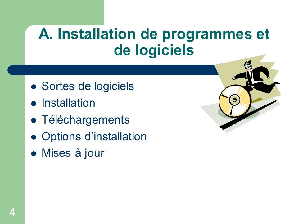 4 A. Installation de programmes et de logiciels Sortes de logiciels Installation Téléchargements Options dinstallation Mises à jour
