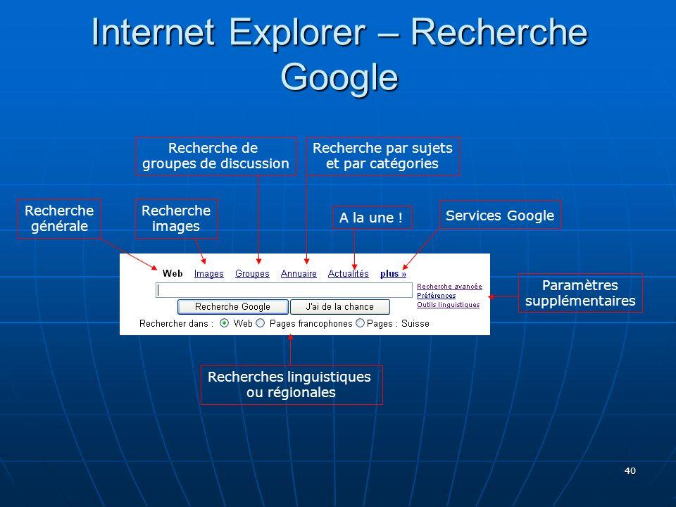 40 Internet Explorer – Recherche Google Recherche générale Recherche images Recherche de groupes de discussion Recherche par sujets et par catégories A la une .