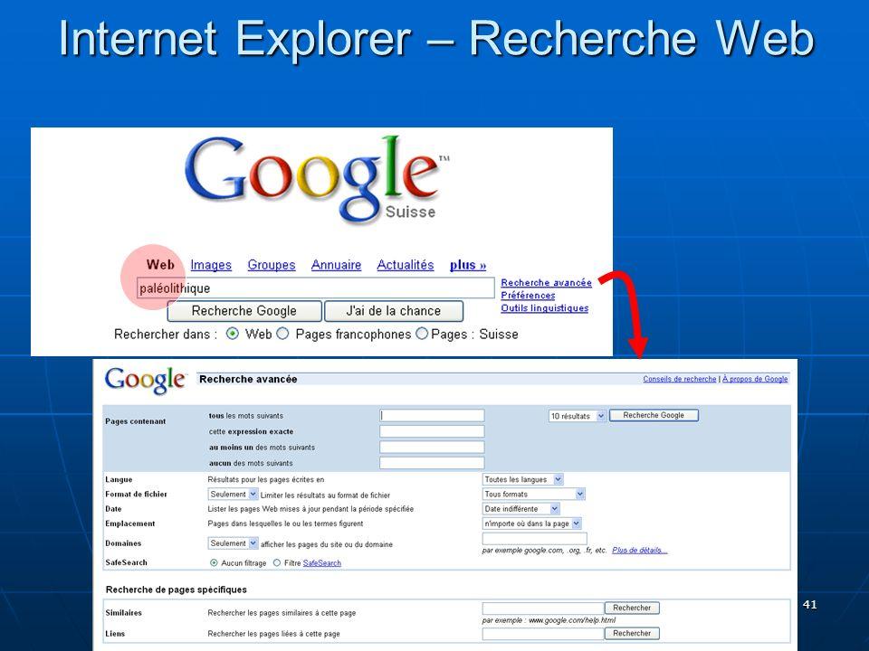 41 Internet Explorer – Recherche Web