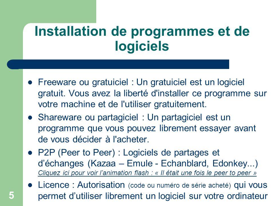 5 Installation de programmes et de logiciels Freeware ou gratuiciel : Un gratuiciel est un logiciel gratuit.