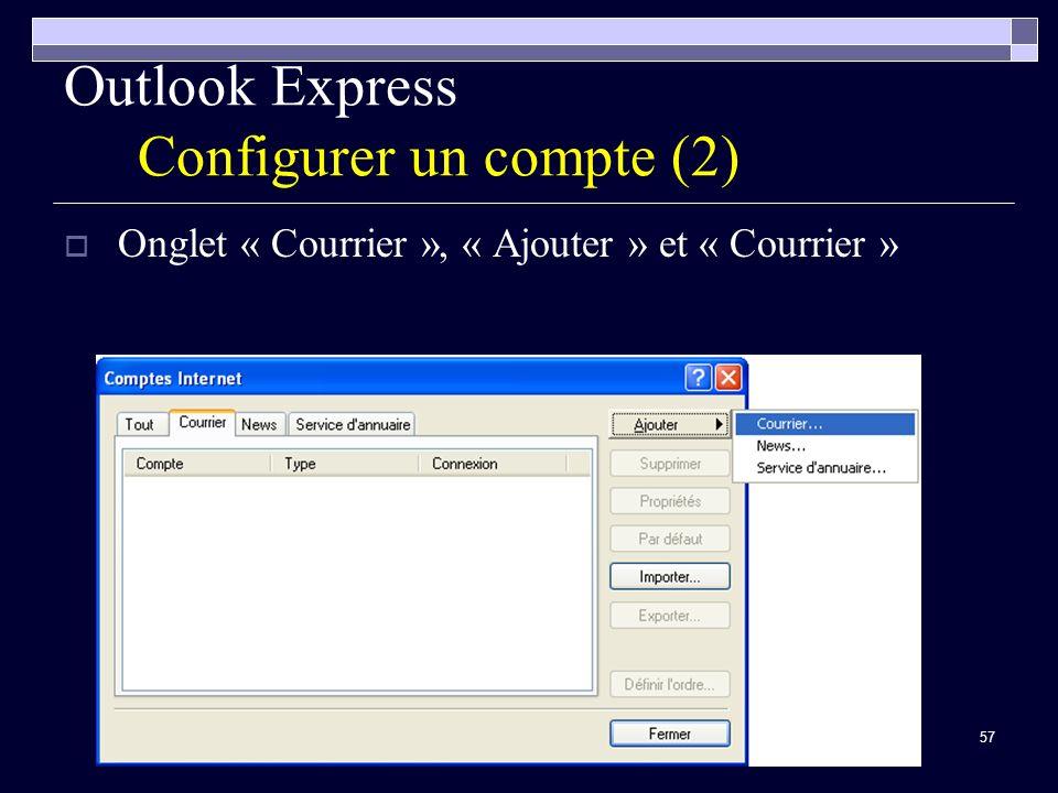57 Outlook Express Configurer un compte (2) Onglet « Courrier », « Ajouter » et « Courrier »