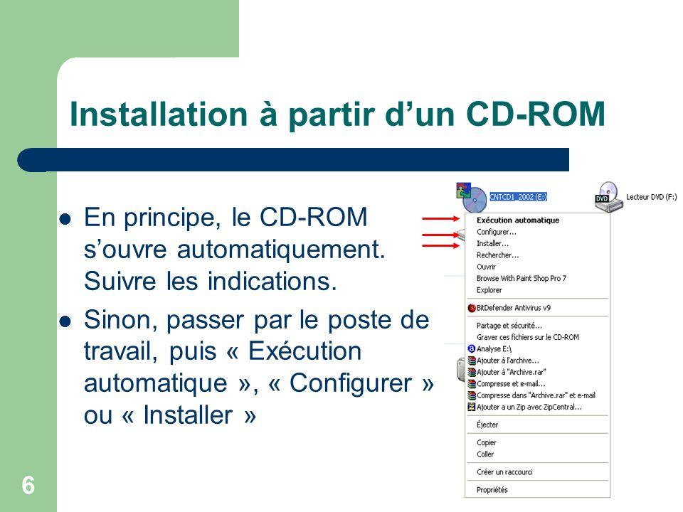 6 Installation à partir dun CD-ROM En principe, le CD-ROM souvre automatiquement.